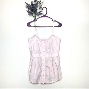 Pink Anthropologie Odille Button Cotton Tank Top